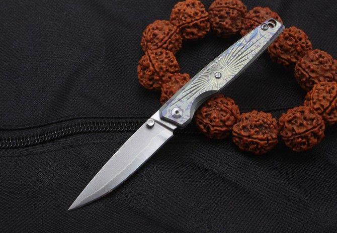 Free shipping,Small pocket knife key ring folding knives Imports steel blade TC4 Titanium Alloy handle EDC tool gift Xmas Blue arrow