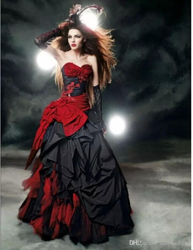 Красный и черный готический Свадебные платья Милая Bow Кружево драпированные тафты Vintage Hot Sale Викторианский Свадебные платья Длина пола сшитое