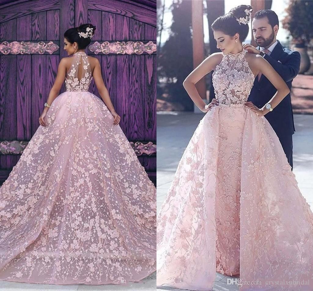 2020 Pink Ball Gown Wedding Dresses High Neck Illusion Lace