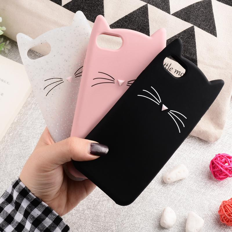 For iPhone 7 case Cute 3D Moustache Cat case for iPhone 5S 6 5 6s plus case Soft Silicon Back Cover for iPhone 7 8 plus