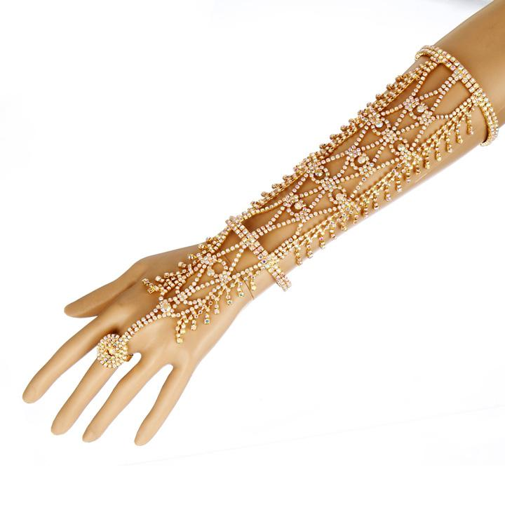 Women Rhinestone Slave Ring Statement Fashion Bracelet Hand Chains Cuff Wedding Bridal Celebrity Trendy Belly Dancer Jewelry