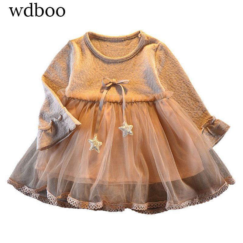 WDBOO fille robe 플레어 긴 소매 별 매듭 리본 voile 계층 드레스 드레스 2 생일 기념일 선물 의류