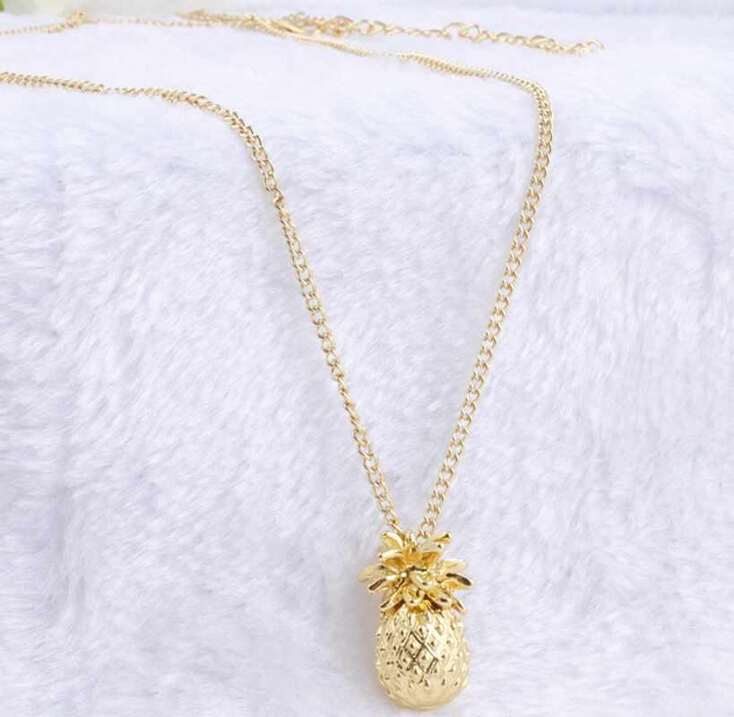 KUNIU Tiny Pineapple Fruit Cute Charm Long Chain Necklace Jewelry Fashion Gift for Women