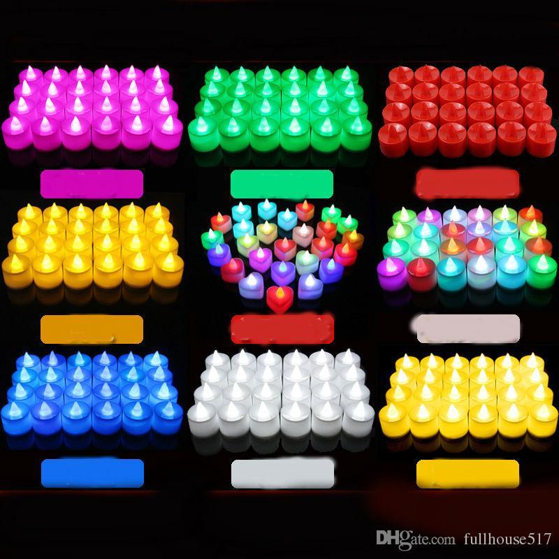 Luci LED Tea Candele Colore 7 che cambia senza fiamma Tealight Long Lasting Battery Operated decorazione candele falso per la festa nuziale