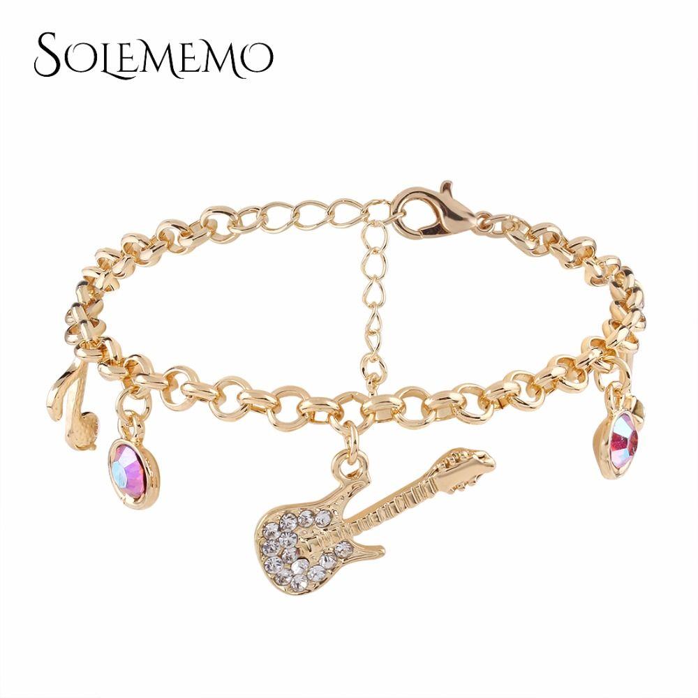 Solememo Mignon Chaîne En Strass Or Femmes Charme Argent Bijoux Acheter Les Filles Bracelet Guitare Pour B0746 Mode De Bracelets 53ALj4R