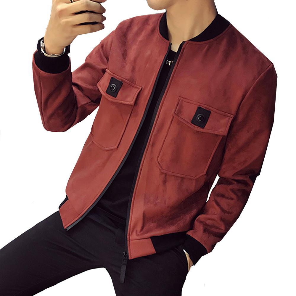 2018 primavera outono nova jaqueta de camurça da juventude moda casual estilo de rua cores sólidas simples bolso no peito grande personalidade curta