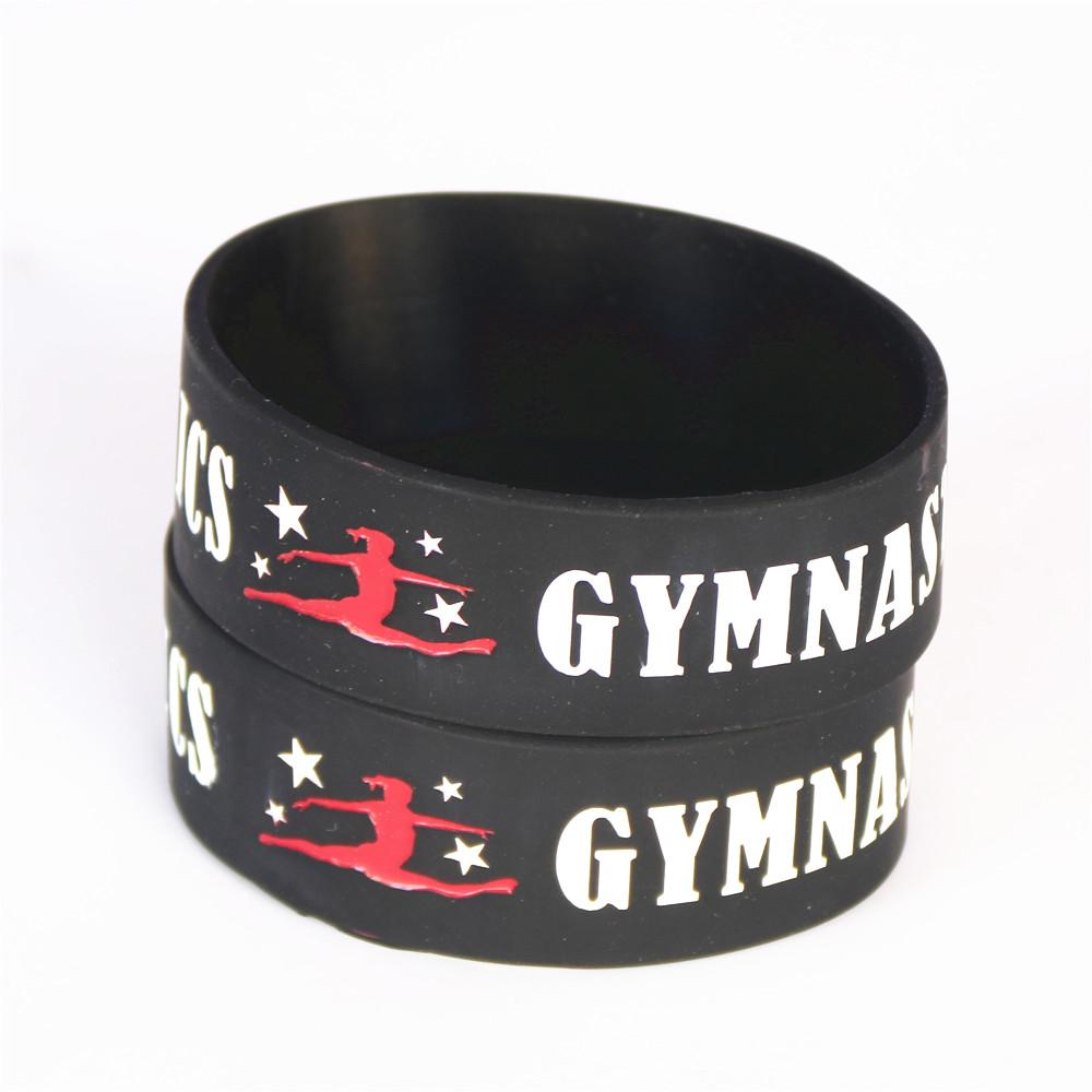 "1PC Silicone Dancer Wristbands 1"" Wide Gymnastics Sport Silicone Bracelet Fitness Bangles Wristband Gift Armband SH096"