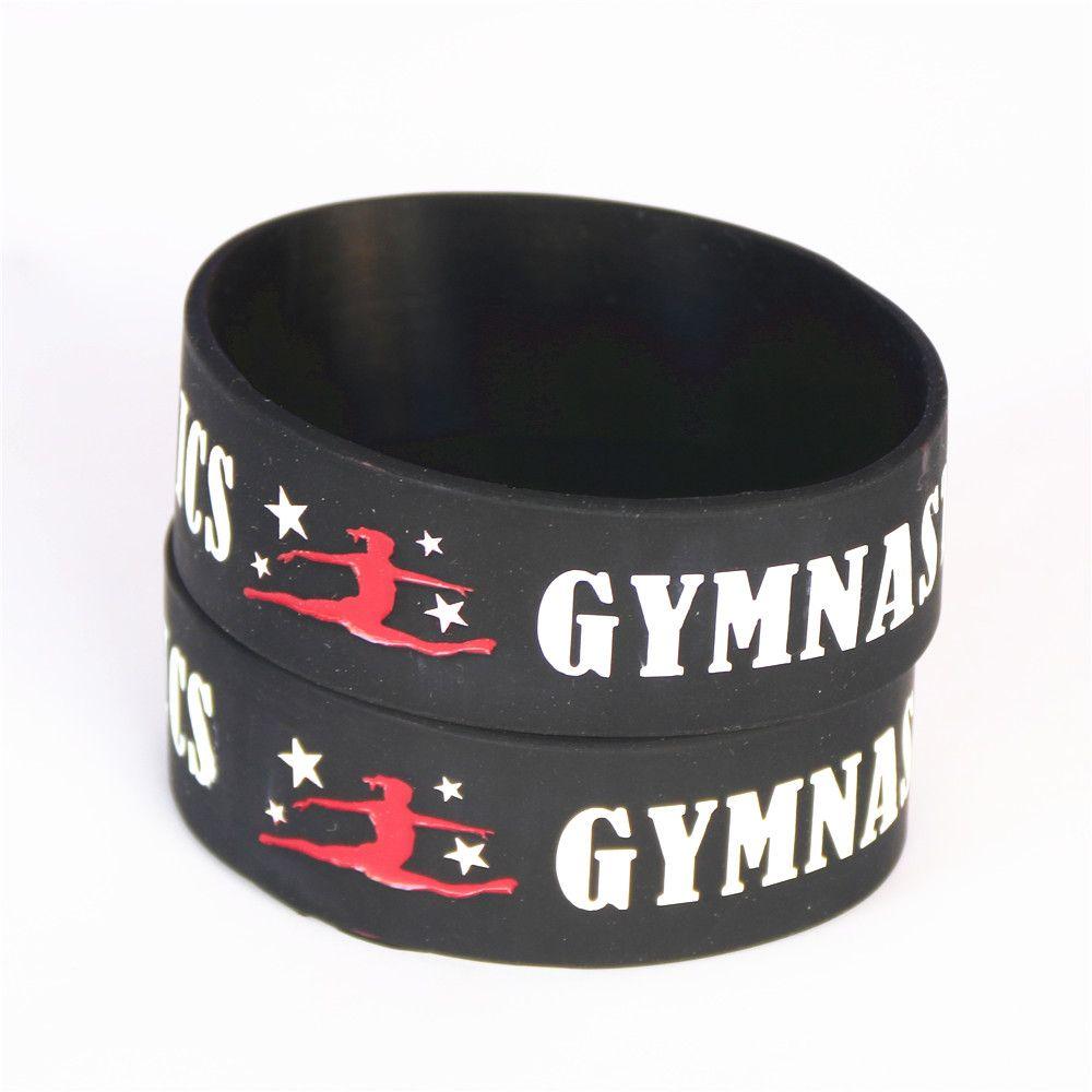 "1PC Silicone Dancer Wristbands 1"" Wide Gymnastics Sport Silicone Bracelet Fitness Bangles Wristband Gift Armband SH096"