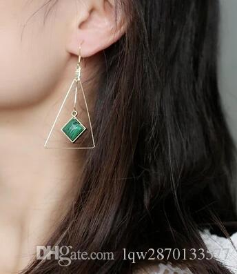 Long Tassel Ear Wire Earrings For Women Fashion Jewelry Turquoise White Green Black Triangle Square Geometry Big Chandelier Dangle Earring
