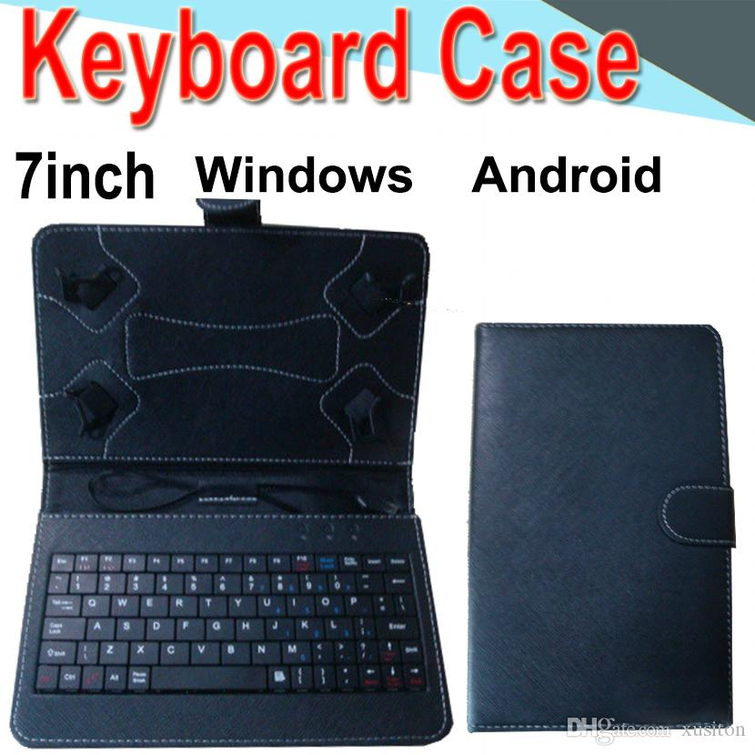 7inch Wire Keyboard Case Cover for Android Windows Ultra Thin Wireless ABS Keyboard PU Case Universal Mobile Phone XPT-2