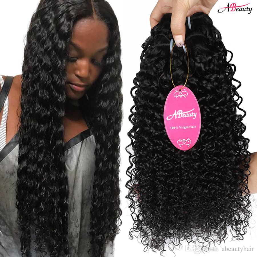 Mink Brazilian Virgin Hair Kinky Curly 3 Bundles Unprocess Virgin Peruvian Human Hair Bundels #1B 8A Malaysian Indian Remy Curly Hair Weft