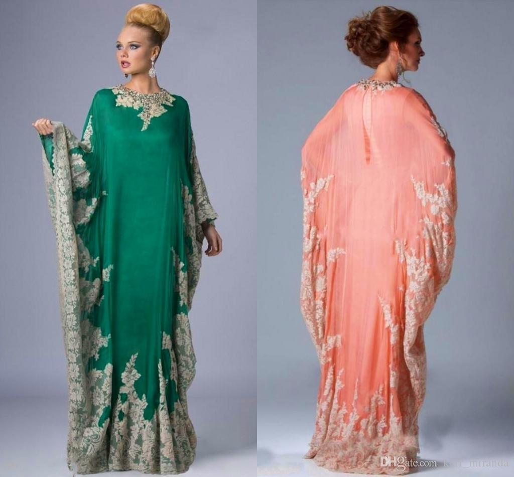 Nouveau chiffon Kaftan Dubaï Soirée Arabian Robes à manches longues Appliques Dentelle Dentelle Moyenne Musulman Mère des robes de la mariée Plus Taille DH4133