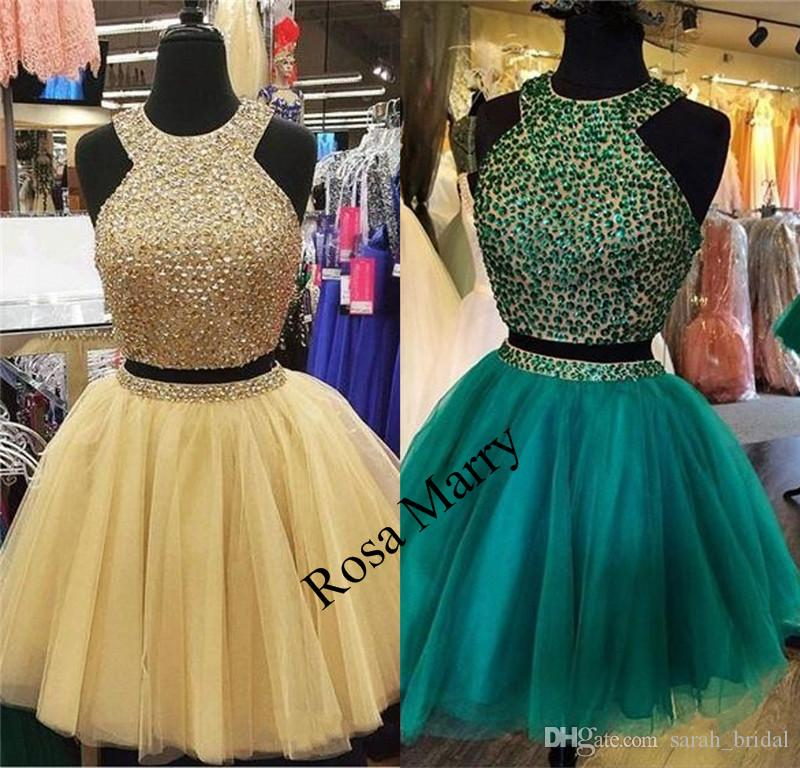 Luxury Crystals Two Pieces Short Prom Dresses 2020 A Line Plus Size Knee Length Tulle Arabic Girls Graduation Cocktail Evening Party Gowns
