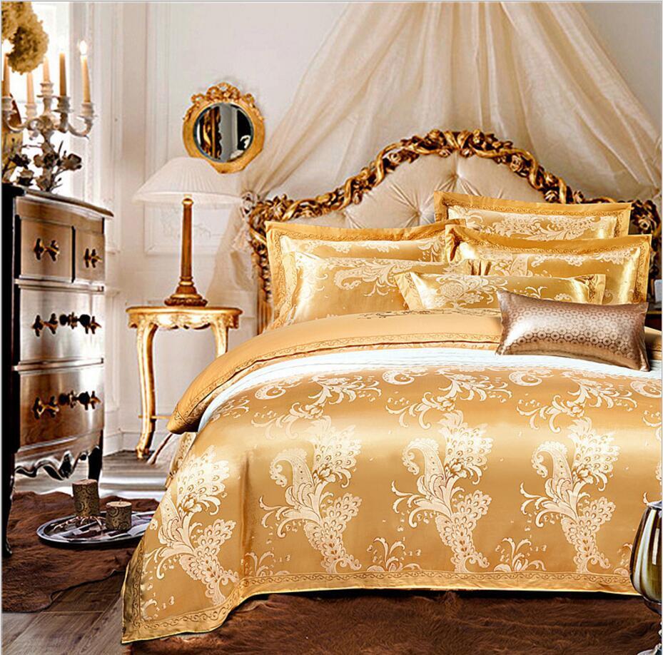 황금 자수 자카드 새틴 침구 세트 럭셔리 4pcs 고귀한 홈 장식 이불 커버 침대 시트 pillowcases 왕의 여왕