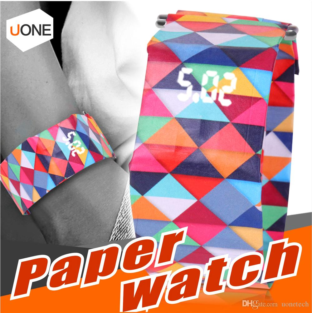 Digital Paper watch Hot sale Fashion Magnetic Wristband Casual sport LED Watch Waterproof Clock Tyvek Paper Strap Gifts For kids Chidren