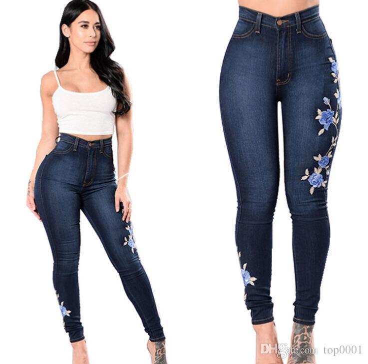 Dropshipping Girl Plus Size Flower Lady Fashion Pants Elegant Women Cool denim pants Girls Cotton Pants Comfort Womens Hole Trousers A009