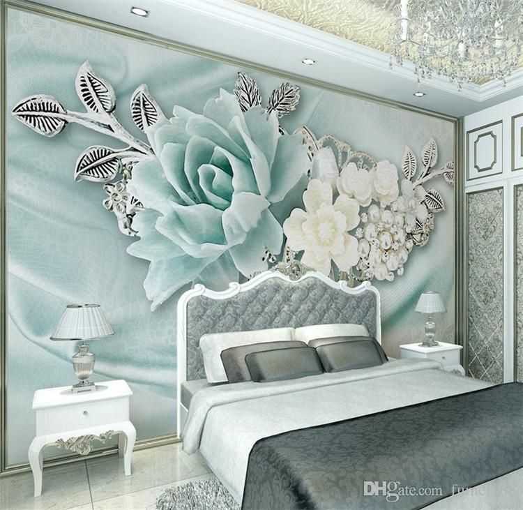 Acheter 3d Peinture Vert Fleur Murale Murale Pour Chambre à Coucher Tv Fond Décor Papier Peint Papel épuré Le Papier Peint Papier Peint 3d