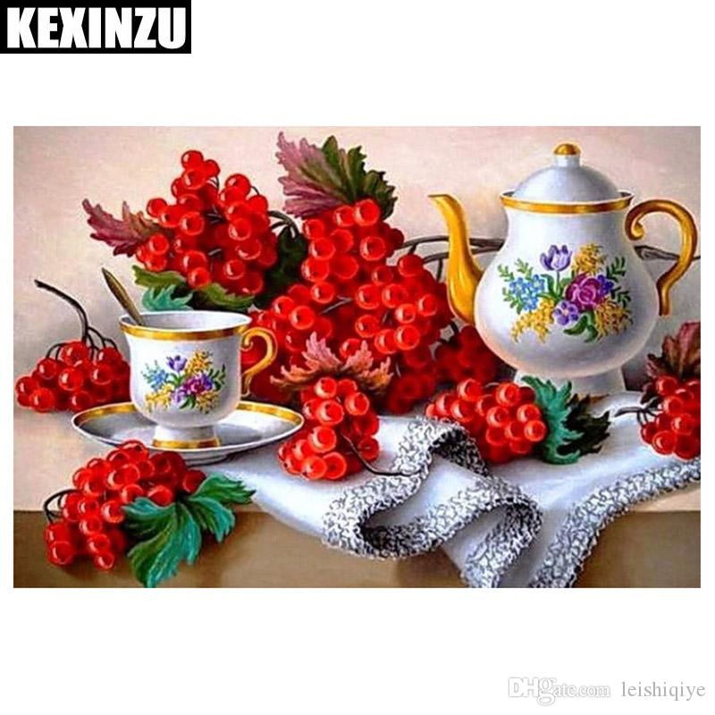 2018 New Diamond Embroidery DIY Diamond Painting Teapot Red Flowers Diamond Painting Cross Stitch Rhinestone Mosaic