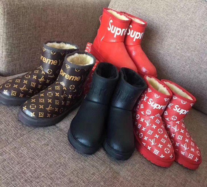 LOUIS VUITTON X SUPREME UGG Wool Boots High Quality Women