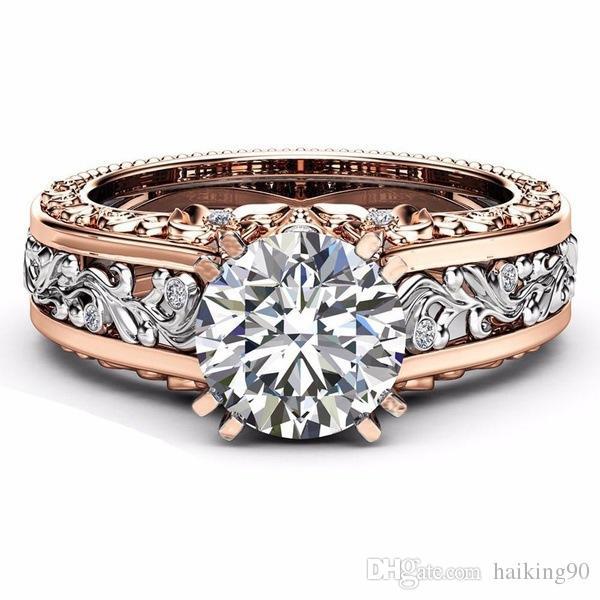Marca de joyería para mujer 14KT chapado en oro rosa anillo de boda anillo de corte redondo 1ct Solitario Dimaond Anillos para regalo de compromiso CSB1390