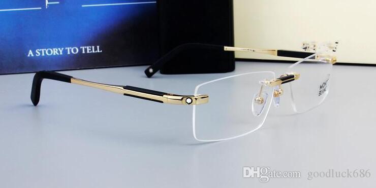 0349 Brand Design Rimless Glasses Wide Spectacle Men eyeglasses frames Titanium glasses prescription lens optical frame eyewear MB