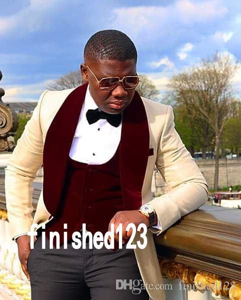 Yüksek Kalite Bir Düğme Bej Damat Smokin Şal Yaka Groomsmen Best Man Suits Mens Düğün Takımları (Ceket + Pantolon + Yelek + Kravat) NO: 1188
