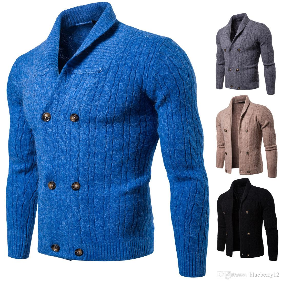 18 FW Mens Knitted Coats Moda solapa cuello suéteres de doble botonadura Slim Fit Warm Chaquetas de tejer