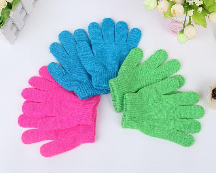 Winter Cute Boys Girls Gloves Solid Color Finger Point Stretch Knit Mittens kids gloves knitting warm glove children babys Mittens BY0335