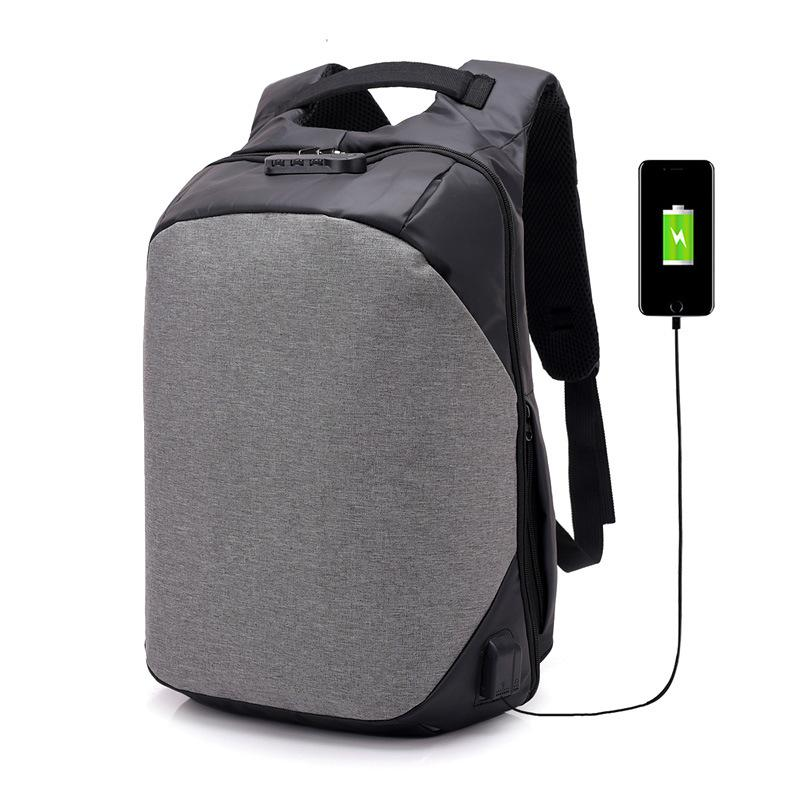 External USB Charge Backpack Men Anti Theft Lock Laptop Bag Large School Bags