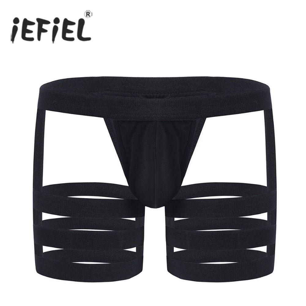 Sissy Men Boxer Briefs Underwear G-string Thongs Lace Trunks Shorts Garter Bands