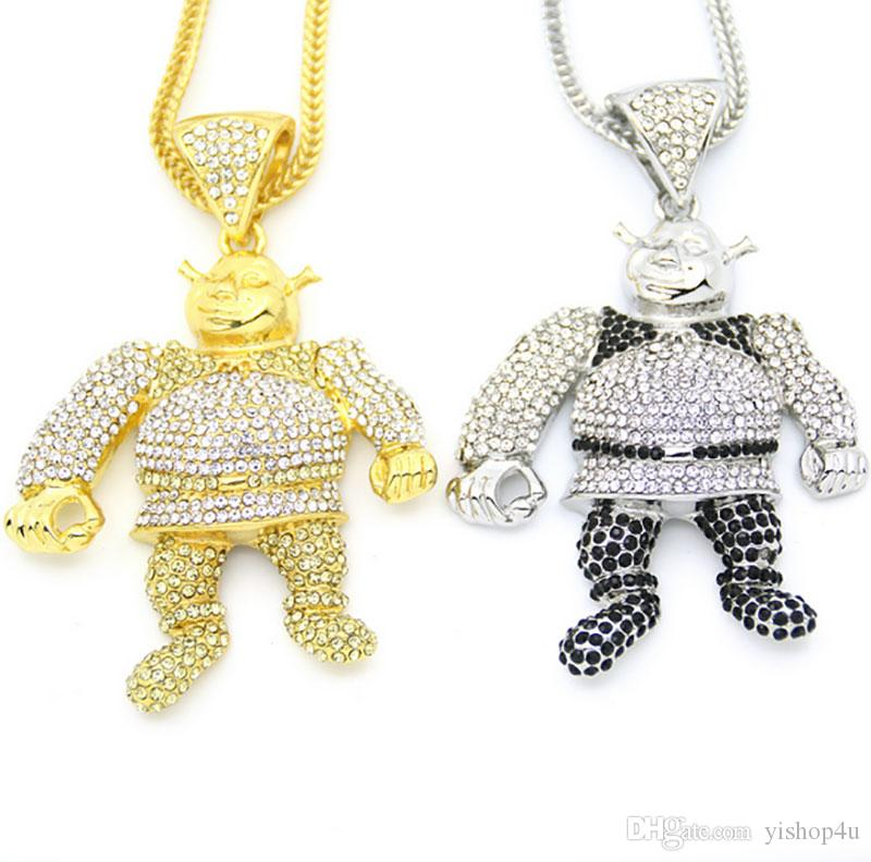 New 36inch Foxtail Chain Large Size Cartoon Game Pendant Hip hop Necklace Bling Bling Iced Out with Gold Silver Jewelry for Men and Women