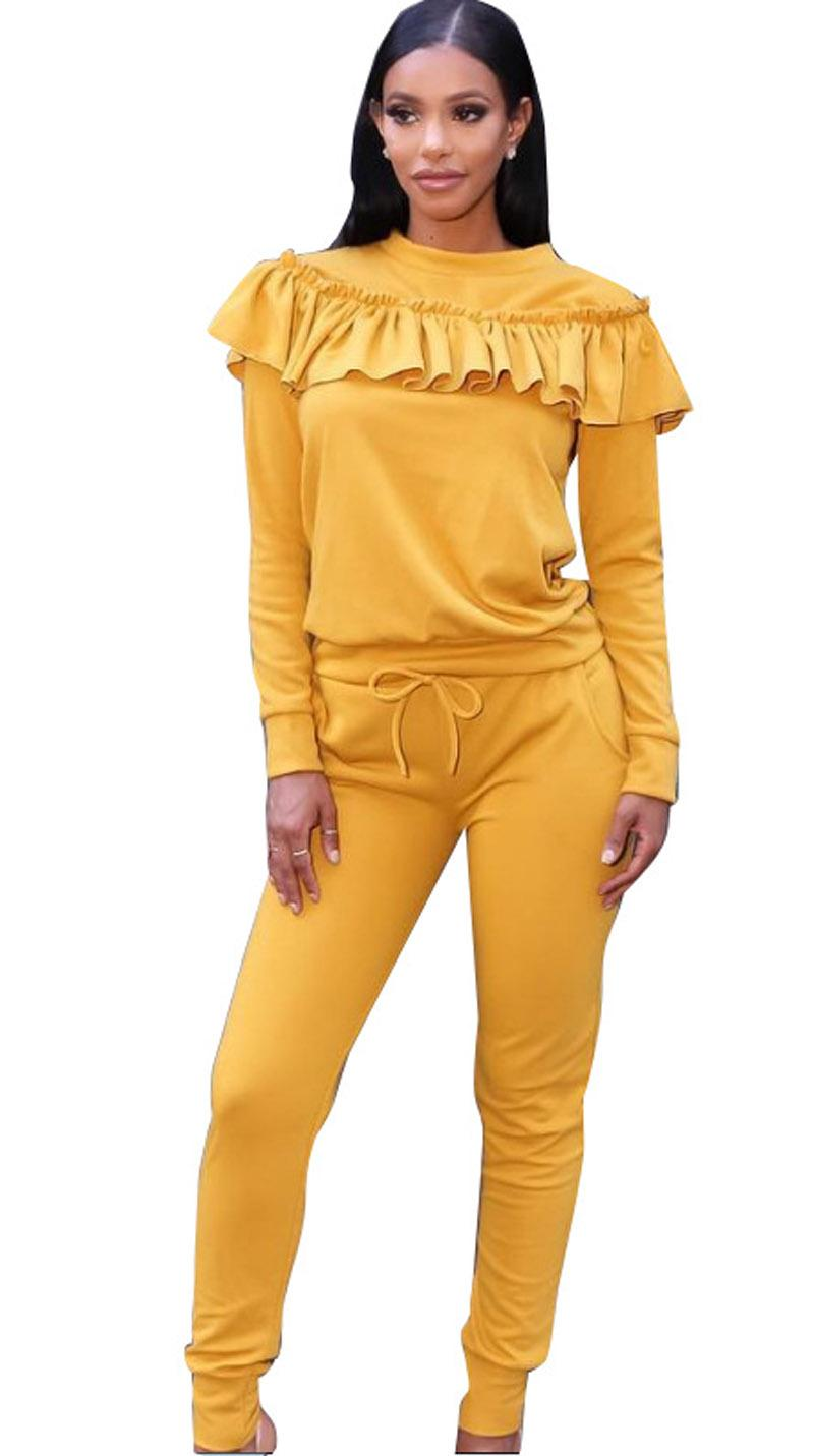 Womens pants suits autumn winter New women's sports casual suit ruffled top Sweater pencil pants two-piece suit Yellow xl 811