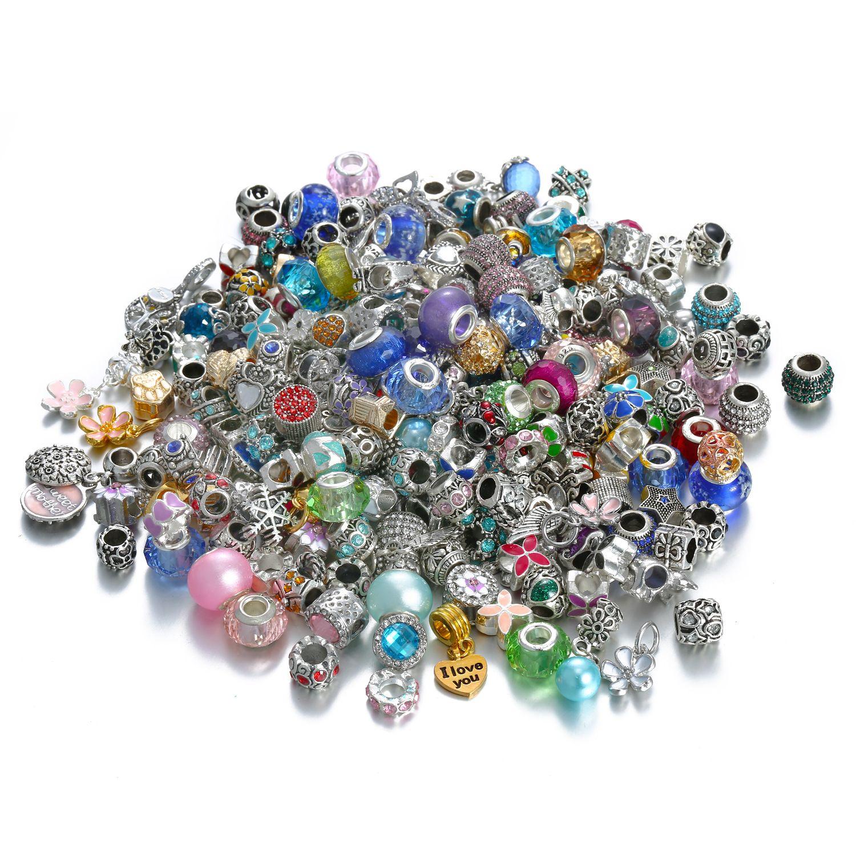 Fascini 50PCS stili misti all'ingrosso dei branelli della lega di cristallo multicolore per i gioielli Pandora europee braccialetti dei braccialetti delle ragazze delle donne regalo B006