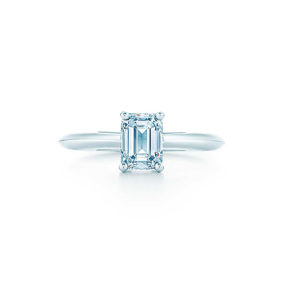 Elegant 1ct Emerald Cut T Section Synthetic Diamond Ring Anniversary Women Wedding Jewelry Sterling Silver 925 White Gold Plated Rings