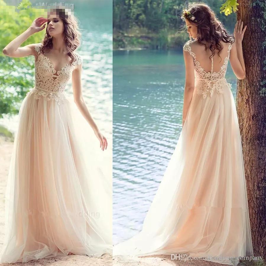 2018 Blush Pink Lace Tulle A-Line Wedding Dresses Romantic Cap ...