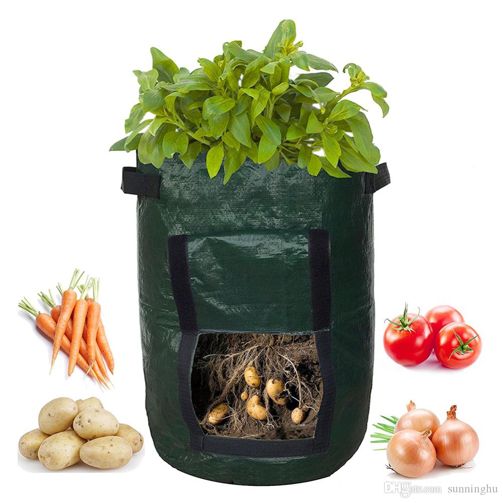 Plant Grow Bag DIY Potato Grow Planter PE Cloth Tomato Planting Container Bag Thicken Garden Pot Garden Supplies For Growing