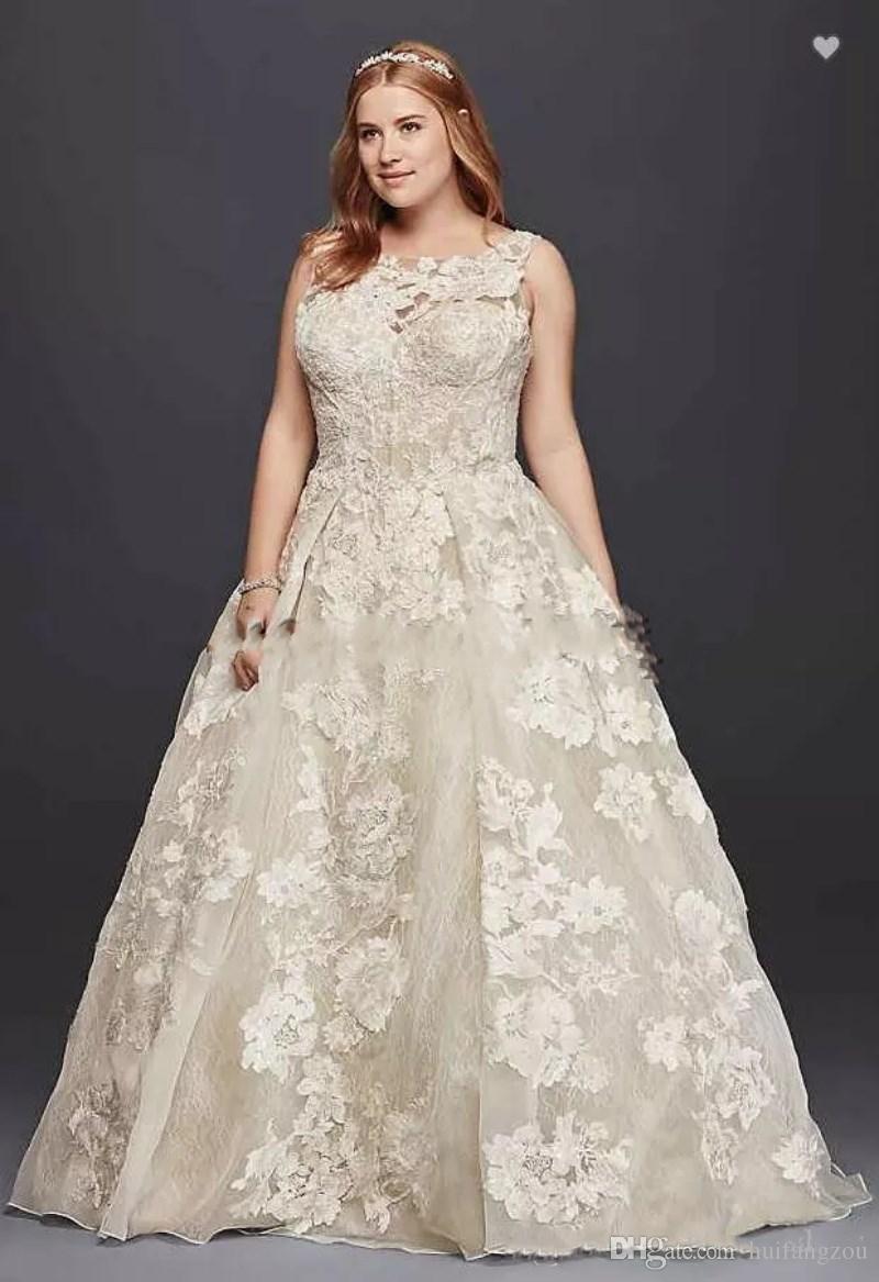Discount Oleg Cassini Tank Lace Plus Size Wedding Dress With Beads 2018 3D  Appllique Plus Size Princess Full Length Beach Wedding Bridal Dress Wedding  ...