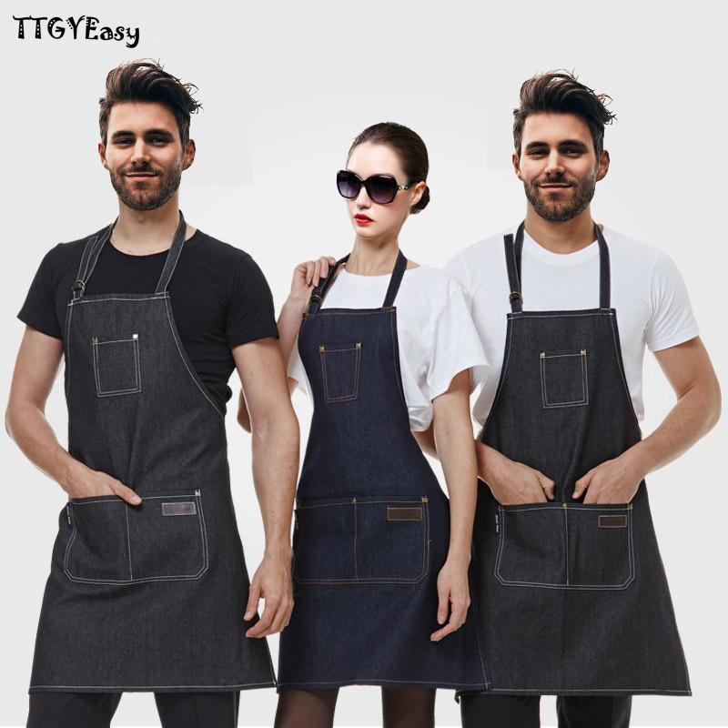 2017 New Aprons Denim Simple Antifouling Uniform Unisex Adult Aprons For Woman Men &#039 ;S Male Lady &#039 ;S Kitchen Cooking