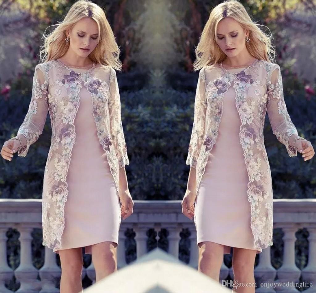 2019 레이스 재킷과 신부 드레스의 우아한 무릎 길이의 어머니 꽃 웨딩 게스트 드레스 어머니의 드레스 정장 이브닝 가운