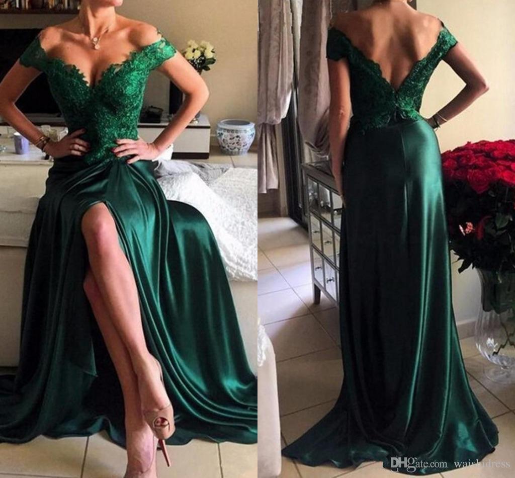 2018 Zümrüt Yeşil Yan Bölünmüş Abiye Seksi Kapalı Omuz Backless Abiye giyim Sweep Tren Uzun Özel Durum Elbise