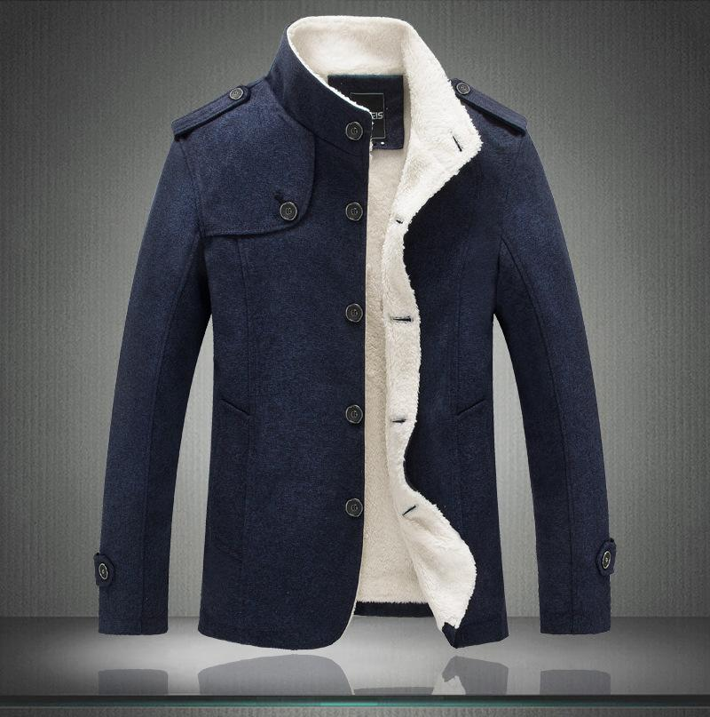 Brand Mens Stand Collar Wool Winter Coat High Quality Men Woolen Jacket Coats Fleece Men Cashmere Overcoat Mens Trench Coat Blue