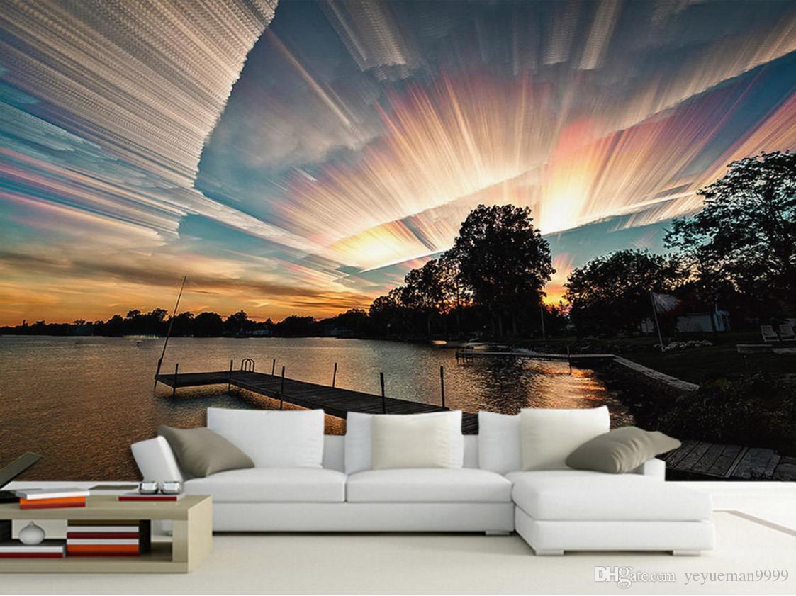 Papel tapiz estereoscópico 3d personalizado Paisaje del cielo paisaje papel tapiz para las paredes del dormitorio TV telón de fondo foto papel tapiz 3d