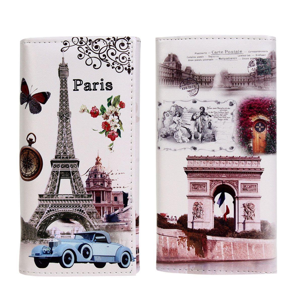Moda Bayan Uzun Cüzdan Sıcak Satış Pürüzsüz PU deri Paris Bayraklar Eyfel Kulesi Tarzı Lady Sikke Çantalar Debriyaj Cüzdan Para Çanta