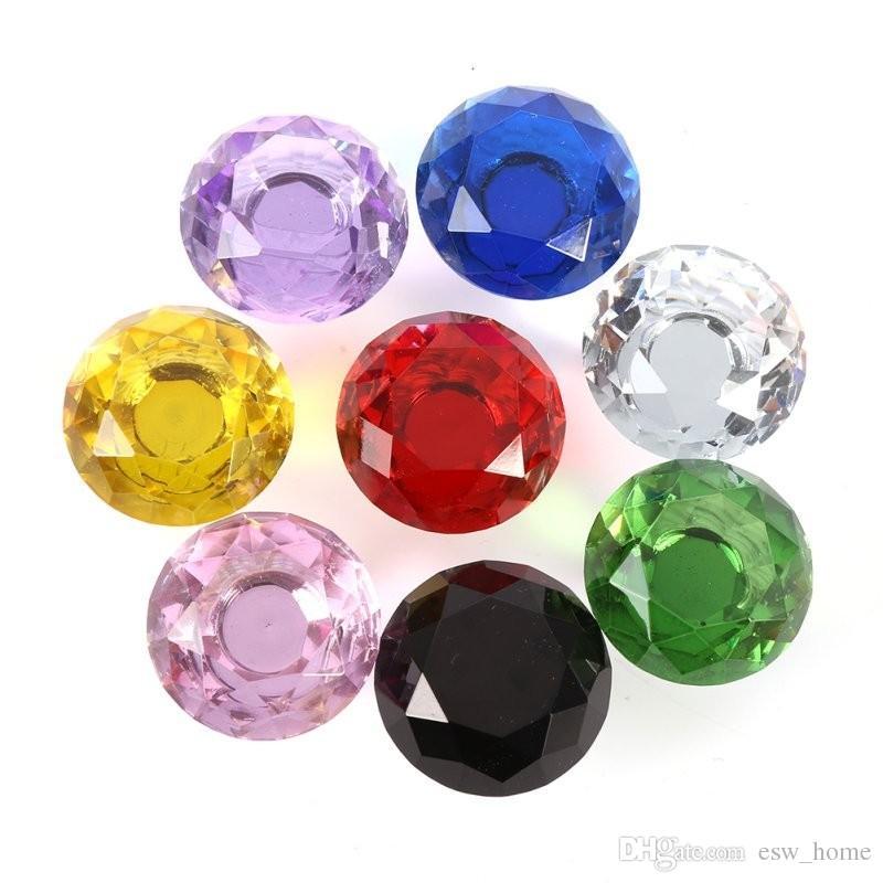 30mm Forma de Diamante Gaveta Da Porta de Vidro de Cristal Armário Armário Pull Handle Knobs Drop Worldwide Store