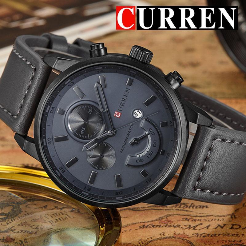 Relogio Masculino Curren Quarz-Uhr-Männer 8217 Top Leder Herrenuhren Art und Weise beiläufige Sport Uhr Herren Armbanduhr