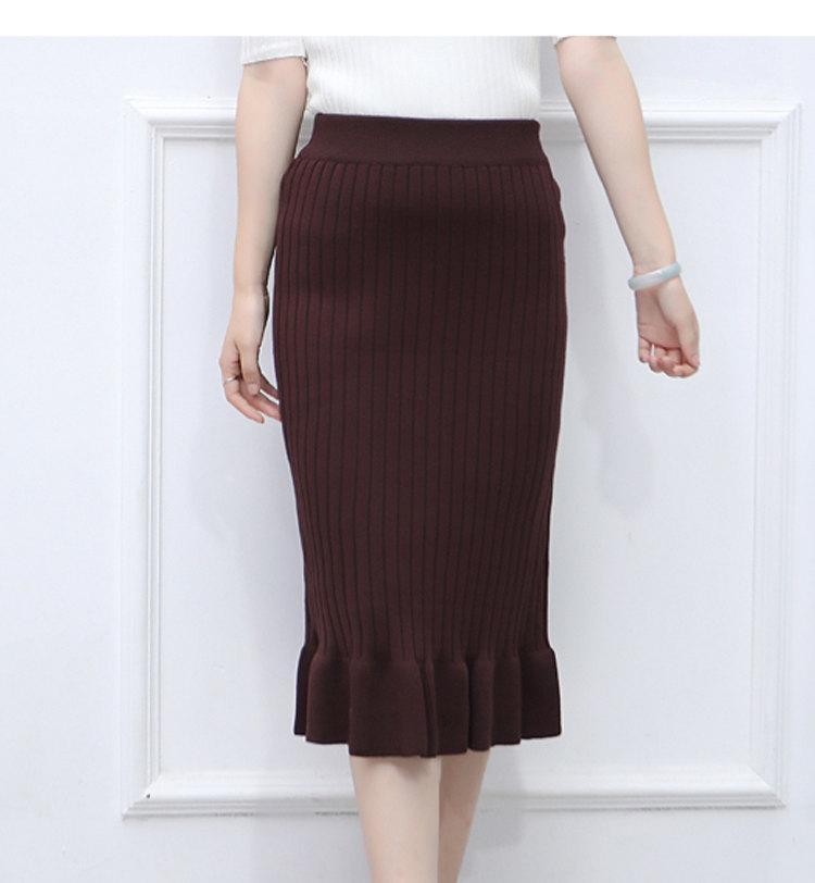 Winter Knitted Skirts Women High Waist Mermaid Skirt Saia Knitting Pack Hip Skirt Women\`s 2019 Casual Bodycon Faldas Mujer (3)