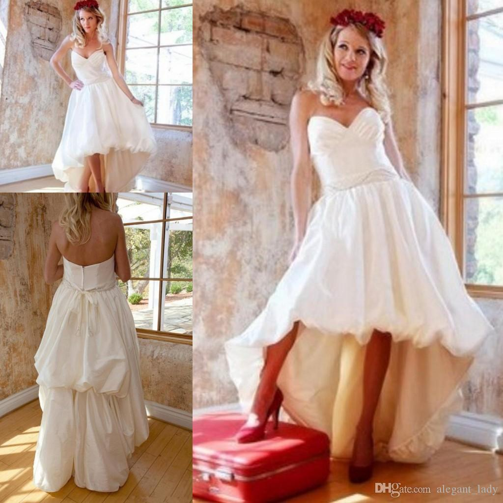 Short Front Long Back Vintage Wedding Dresses Ruched Sweetheart Bubble Hem High Low Bridal Gowns 1950s Style Simple Outdoor Bride Dress New