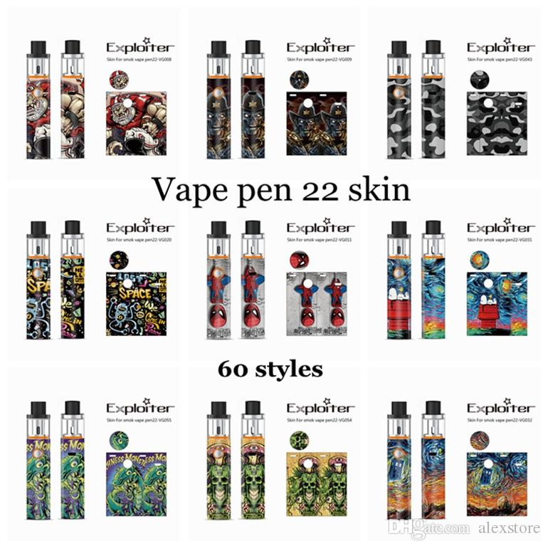 41 Designs ! DHL Free! Skins Wraps Decal Sticker Cases Cover Sleeve for Battery Kit Vape Pen 22 Mod Protective Film Stickers Glass DHL