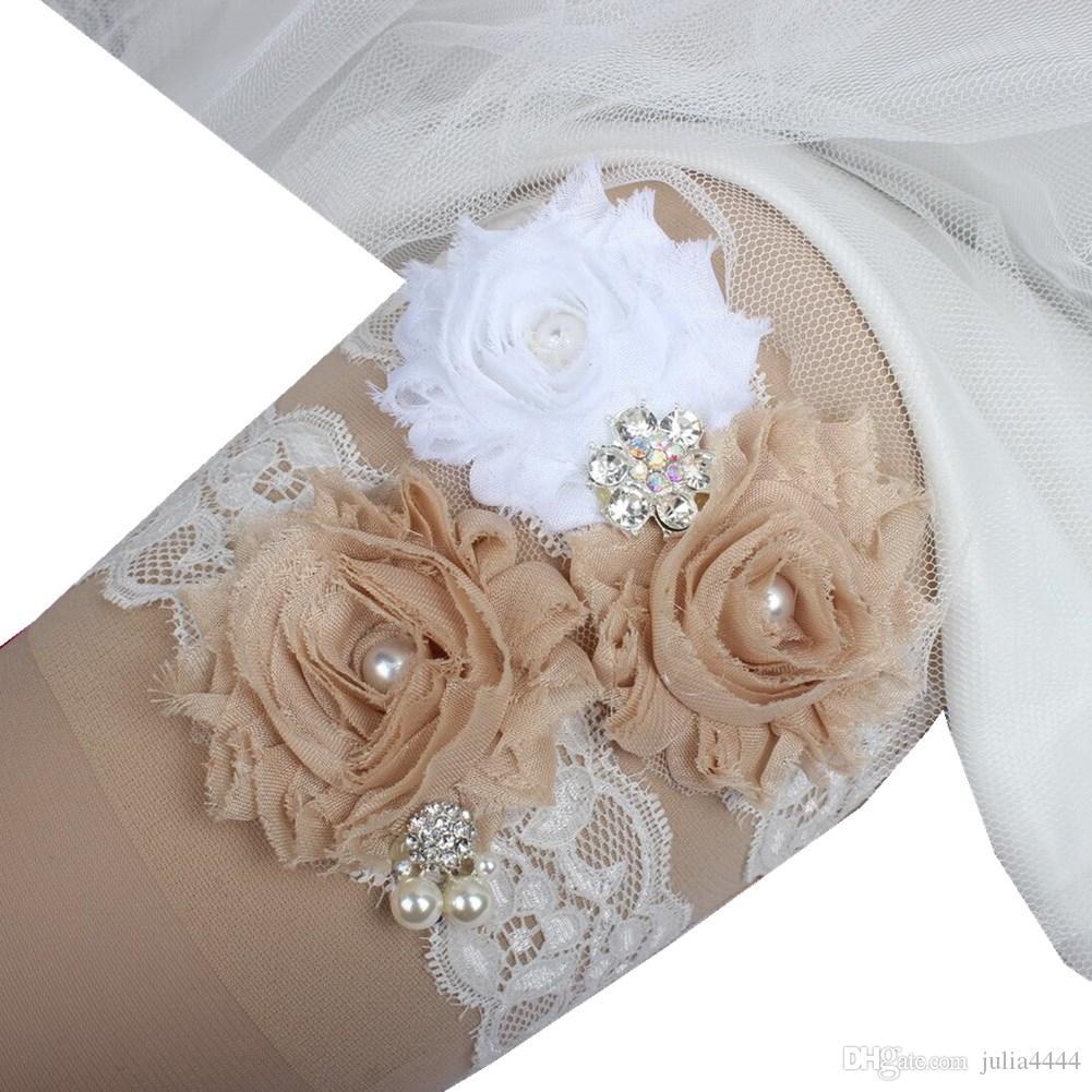 الأربطة الزفاف الشمبانيا للعروس الرباط الزفاف الأربطة 2 أجزاء مجموعة ريال صور اللؤلؤ الزجاج بلورات اليدوية الشيفون الزهور رخيصة