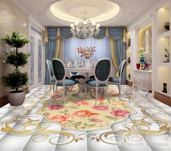 3d Flooring Customize Livingroom Wallpaper Floral Pattern Vintage